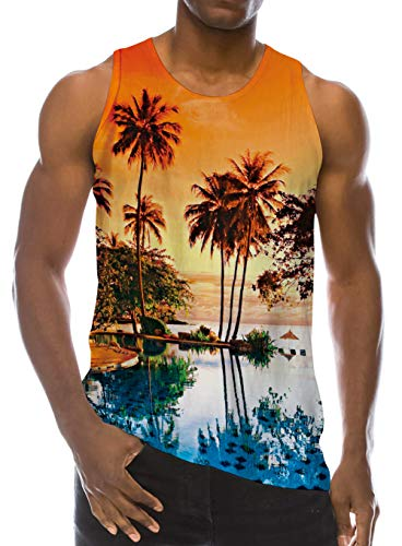 Funny Tank Tops Palm Tree Island for Youth Men Bodybuilding Athletic Training Workout Sleeveless Summer Beach Hawaiian Shirt Gym Graphic Tees Top Cloth L