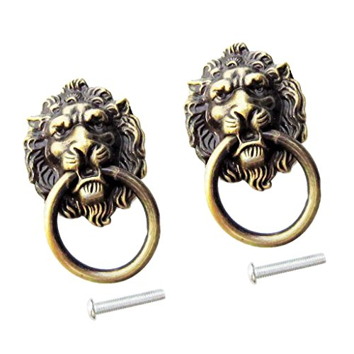 MagiDeal 2xRetro Lion Head Pull Handle Door Cabinet Dresser Drawer Knob Antique Brass ()