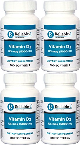 Vitamin D3 High Potency 5000 IU 100 Softgels per Bottle PACK of 4