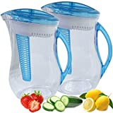 Cool Gear 2 Pack Infuser Filter Pitcher Natural Water Filtration System Plus Fruit