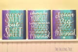 Ocean Mermaid Themed Girl's Bedroom Or Nursery Canvas Art Hand Painted and Lettered by THE FALLING TREE Reviews