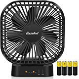 Small Fan Battery Operated, AA Battery Fans, Portable Fans with Timer, 5 Inch Small Electric Fan for Computer, Quiet USB Desk Fans, 3 Speeds, Perfect for Home Office, Hurricane-4 AA Batteries Included
