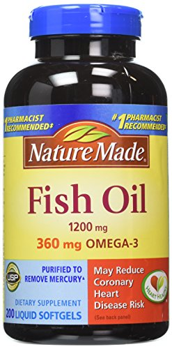 Nature Made  360mg of Omega 3 200 Softgels Fatty Acids Fish Oil, Pack of 2