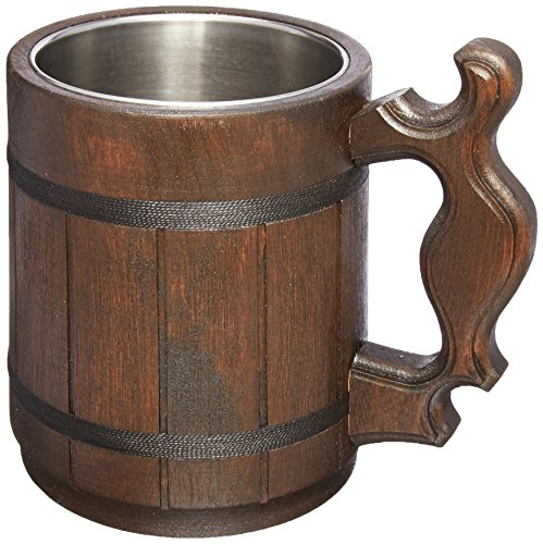 (Handmade Beer Mug Natural Wood Stainless Steel Cup Gift Eco-Friendly 0.6L 20oz Classic)