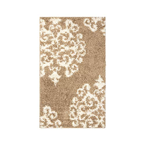 Superior Victorian Collection Soft Shag Small Area Rug 3' x 5' - Kitchen, Dining, Living Room - Gold-White ()