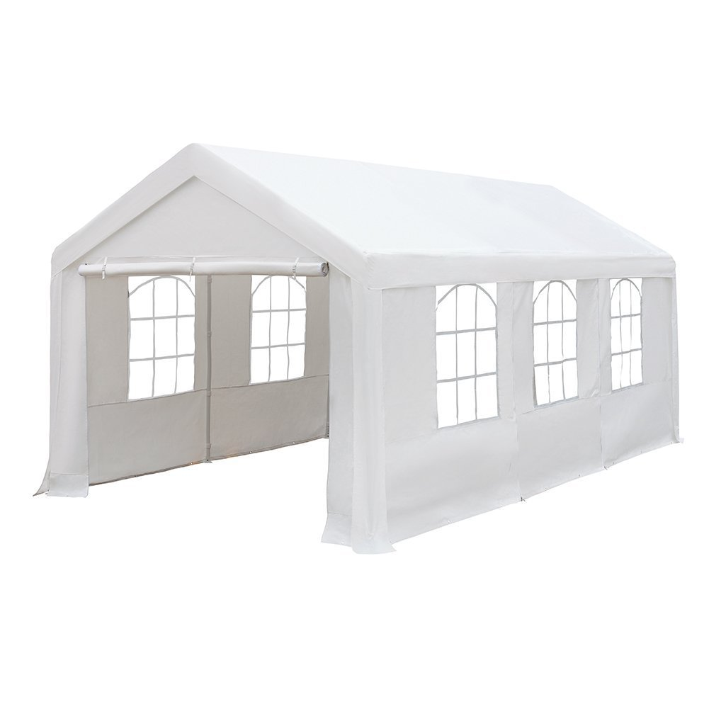 Abba Patio 10 x 20-Feet Heavy Duty Carport with Windows and Sidewalls, White