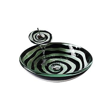 HomeLava Lavabo Vasque en Verre Trempé Noir Blanc, avec Robinet Cascade à  poser la salle de bain ,garantie de 2ans