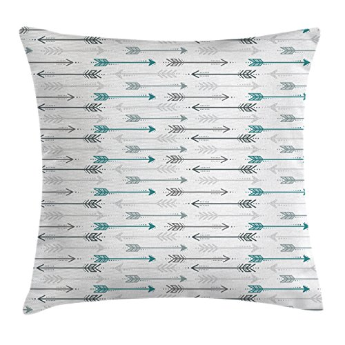 Teal Decor Throw Pillow Cushion Cover by Ambesonne, Retro Arrow Pattern In Horizontal Line Heading To Opposite Directions Art, Decorative Square Accent Pillow Case, 18 X18 Inches, Grey Teal - Arrow Retro