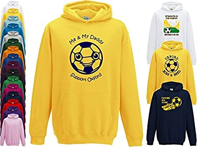 Hat-Trick Designs Oxford United Football Baby//Kids//Childrens Hoodie Sweatshirt-Yellow-Born /& Bred-Unisex Gift