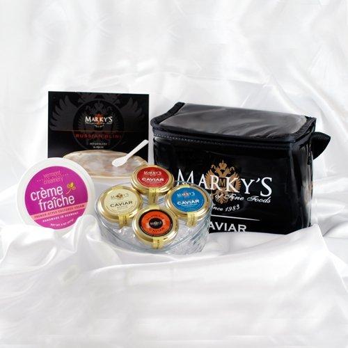 Marky's Caviar Nations Caviar Gift Basket - Hackleback Caviar - Paddlefish Caviar - Bowfin and Salmon Caviar - GUARANTEED OVERNIGHT ()