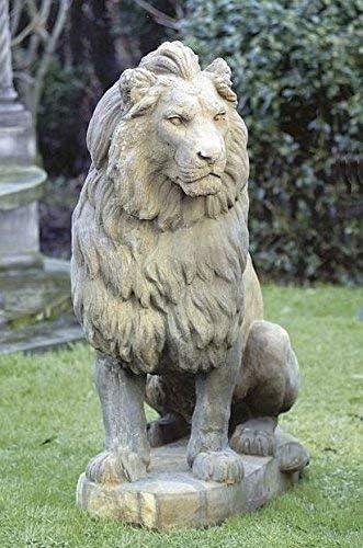 pompidu-living Leones Sentado, Piedra Lion, Figura de Jardín,Figuras Piedra,Steintier - Piedra Arenisca: Amazon.es: Jardín