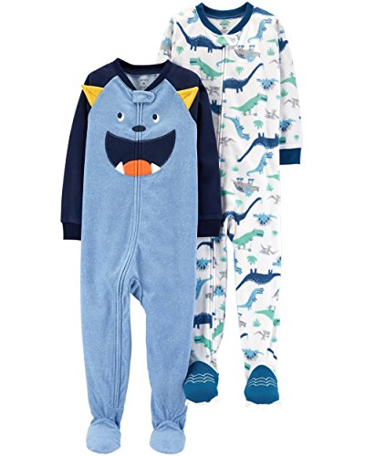 Carter's Baby Boys' 2-Pack Fleece Pajamas, Monster/Dino, 24 Months