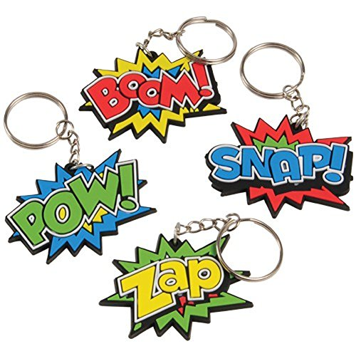 Lot Of 12 Assorted Super Hero Comic Book Theme Keychains (Super Hero Themes)