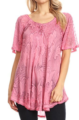 Sakkas 16788 - Maliky Wide Corset Neck Floral Embroidered Cap Sleeve Blouse Top Shirt - Pink - ()