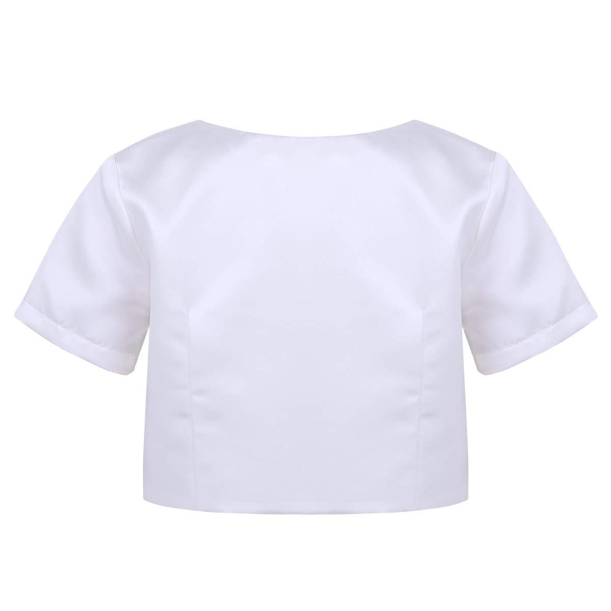 Freebily Kids Girls Satin Short Sleeve Round Neck Faux Pearl Buttons Closure Bolero Short Jacket Shrug Party Dress Cover Up