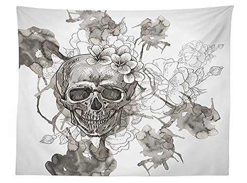 [vipsung Day Of The Dead Decor Tablecloth Painting Skull Flowers Dia de Los Muertos Festive Decor Print Dining Room Kitchen Rectangular Table Cover Dimgrey and] (Monster High Dia De Los Muertos)