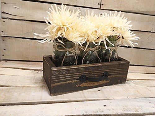Rustic Reclaimed Wooden Drawer With Mason Jars, Reclaimed Box Crate, Mason Jar Centerpiece, Rustic (Wooden Crate Centerpiece)