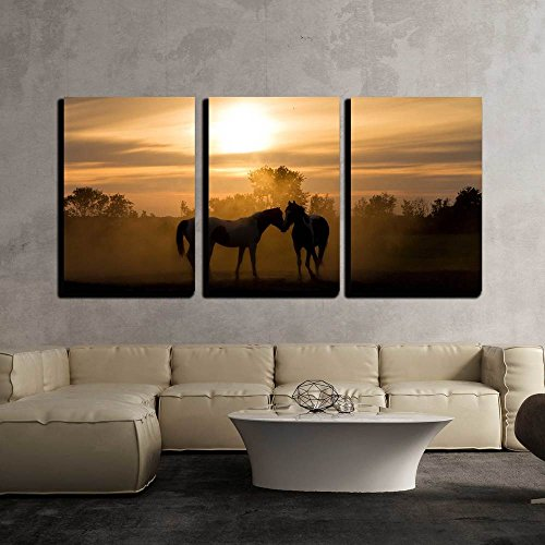 Silhoutte Horses in Love in the Netherlands at Sunset x3 Panels