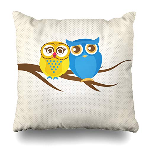 Branch Tree Gold (Ahawoso Throw Pillow Cover Day Blue Bird Couple Owls On Tree Gingham Green Branch Cute Drawing Family Design Stitch Decorative Pillowcase Square Size 20