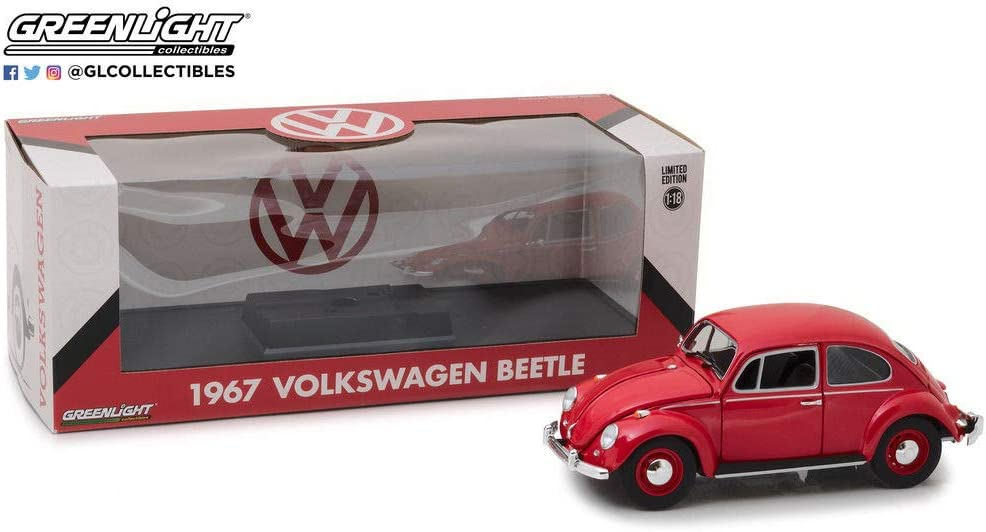 DIECAST 1:18 1967 Volkswagen Beetle - Right-Hand Drive (Candy Apple RED) 13511 by Greenlight
