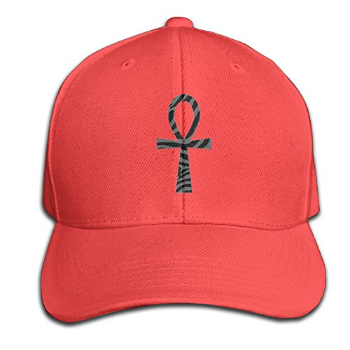 Wiyeres Ankh With Zebra African Snapback Sandwich Cap Red Baseball Cap Hats Adjustable Peaked Trucker Cap