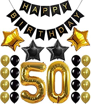 50th Birthday Party Decorations Kit Happy Banner Gold Number BalloonsGold And Black 50 Perfect Years Old
