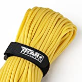 TITAN WarriorCord | YELLOW | 103 CONTINUOUS FEET | Exceeds Authentic MIL-C-5040, Type III 550 Paracord Standards. 7 Strand, 5/32