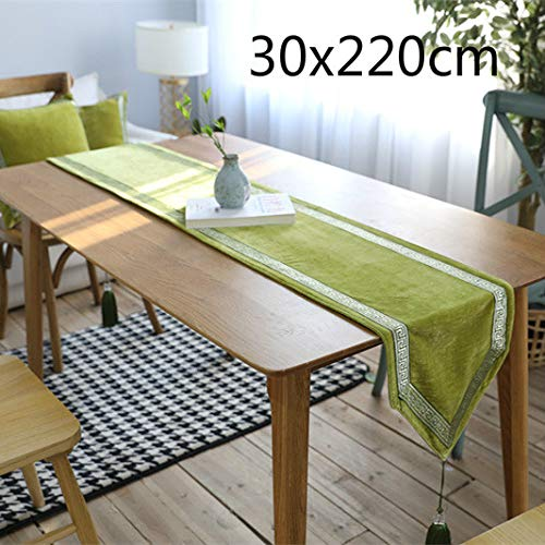 Tablecloth American Embroidery Rectangle Polyester Table Runner Flannel Tablecloth Home Decoration Approx.30x220cm(Green) for Kitchen