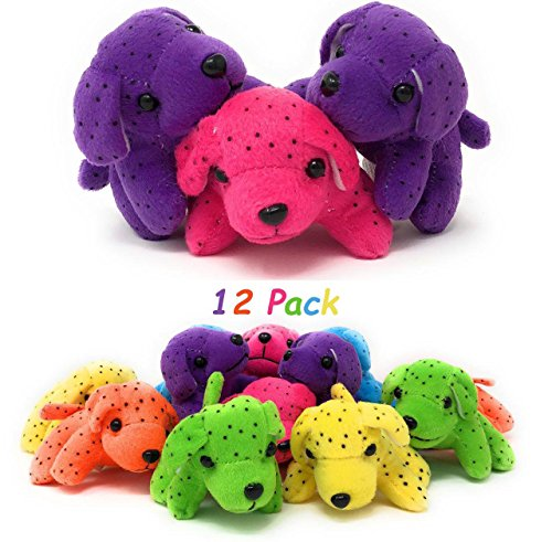 4E's Novelty Plush Neon Dogs Bulk, Dog Assortment, 12 Pack, Assorted Colors, 4