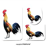 3 Piece Bath Rug Set Nalahome design-105178313 Thai red rooster on white backgroun Bathroom Rug(15.7''x23.62'')/large Contour Mat(15.7''x15.7'')/Lid Cover(15.7''x16.9'')For Bathroom(white)