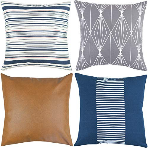 Modern Pillow Decorative (Woven Nook Decorative Throw Pillow Covers ONLY for Couch, Sofa, or Bed Set of 4 18 x 18 inch Modern Quality Design 100% Cotton Navy Stripes Geometric Faux Leather Finn Set)