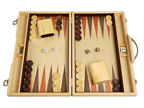 Orion Craft 15-inch Classic Wood Backgammon Set - Indigo Blue Stained Oak Exterior, Inlaid Oak Playing Surface | Backgammon Board Game ()