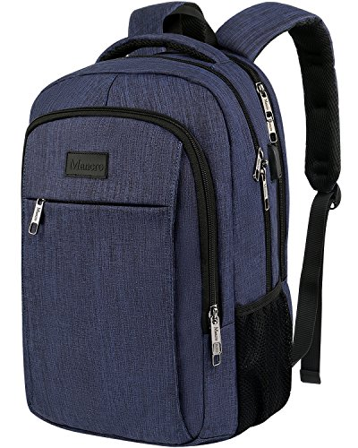 Mancro Lightwight Laptop Backpack - Durable Water Resistan Nylon Casual Daypack For Boy / Teen, Men / Women - Student College School Bookbag with External USB Port Fit Computer Under 15.6