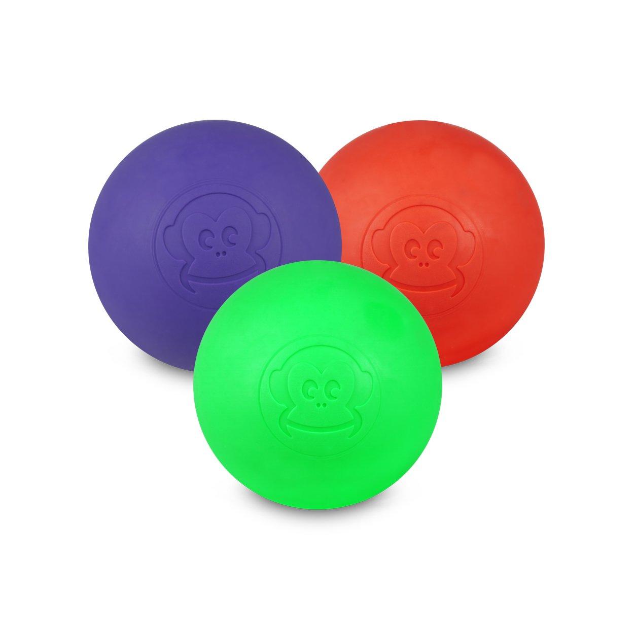 Captain LAX Massageball Original - Lacrosseball im 3er Pack mit den Farben Violett, Rot, Neon Grün, aus Hartgummi, Größe einzeln 6 x 6 cm geeignet für Triggerpunkt- & Faszienmassage/Crossfit Neon Grün