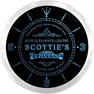 ncpx0840-b SCOTTIE'S Tavern Wine Bar Ale Beer Pub LED Neon Sign Wall Clock
