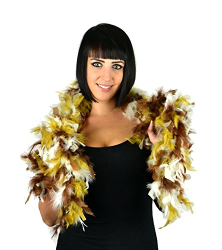 Touch of Nature 1-Piece Feather Turkey Flat Chandelle Boa for Arts and Crafts, 2-Yard, Earth Mix Gold]()