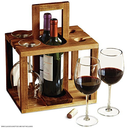 Bottle Wooden Gift - REFINERY Wine Bottle Caddy, Holds 4 Pieces Of Glass Stemware Plus 2 Bottles Of Your Favorite Drinks, Rustic Handcrafted Design W/Acacia Wood, Sturdy Top Handle For Easier Carrying, Great Hostess Gift