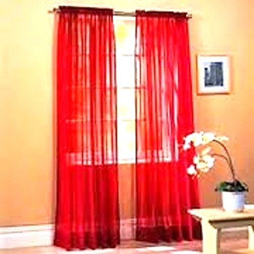 Gorgeous Home 2PC BRIGHT RED SOLID SOFT VOILE SHEER WINDOW CURTAIN PANELS DRAPES 54″ WIDE X 84″ LONG