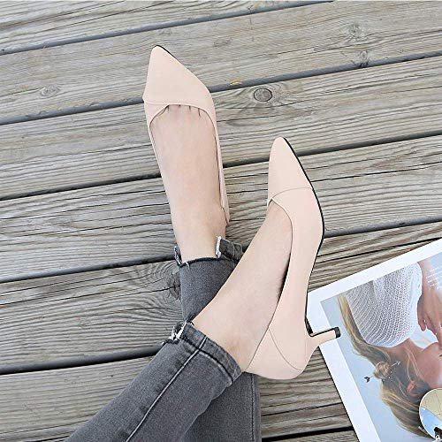 LIURUIJIA Womens Comfort Slip On Pointed Toe Dress Low Kitten Heel Pump Wedding Shoes MENS-GG-5106-1-05-apricot-37 by LIURUIJIA (Image #8)