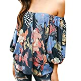 2018 New!Women Sexy Floral Off Shoulder Tops Shirt Summer Fashion Blouse 3/4 Sleeve (Multicolor, S)