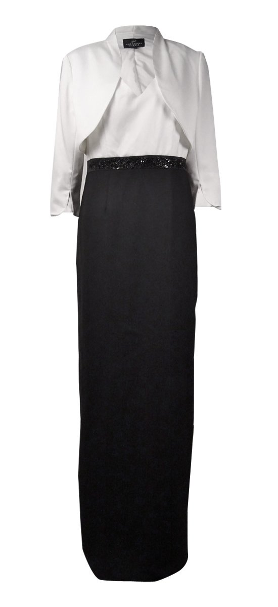 Adrianna Papell Womens Crepe Embellished Dress With Jacket Black-Ivory 8