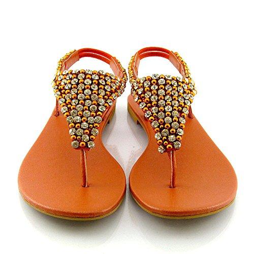 Diamante Essex Cinturino Posteriore Infradito Glam Perlato Finto Sandalo Arancia Donna BBwHfnRXq