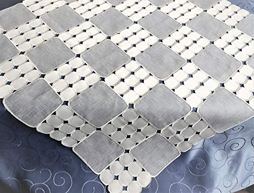 (Amazing Home Fashions Modern Satin Double-Layered Embroidery Geometric Pattern Tablecloth (36