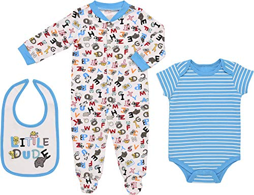 Mini B. by Baby Starters 3-Piece Layette Set- Turquiose/Little Dude Animals, 3-6 Months
