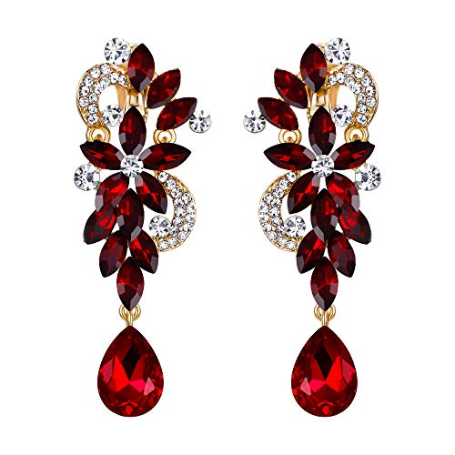 Dangling Red Flower - BriLove Wedding Bridal Clip On Earrings for Women Bohemian Boho Crystal Flower Chandelier Teardrop Bling Long Dangle Earrings Ruby Color Gold-Toned