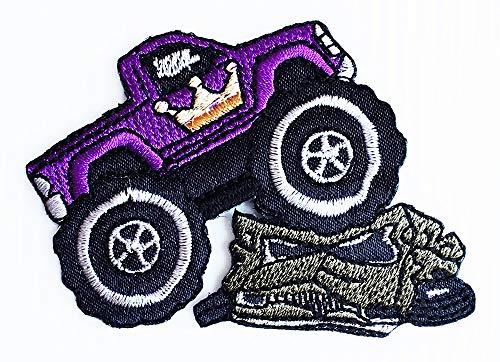 (2.75x3 Inch Bigfoot Monster Car Adventure Truck Car Crown Pickup Monster Car Patch Cartoon Children Kids Embroidered Applique Craft Handmade Baby Kid Girl Women Clothes DIY Costume)