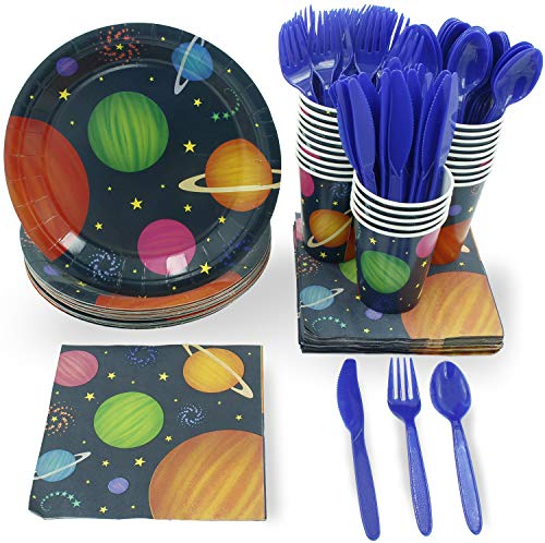 (Juvale Outer Space Party Supplies – Serves 24 – Includes Plates, Knives, Spoons, Forks, Cups and Napkins. Perfect Outer Space Birthday Party Pack for Kids Planet Themed)