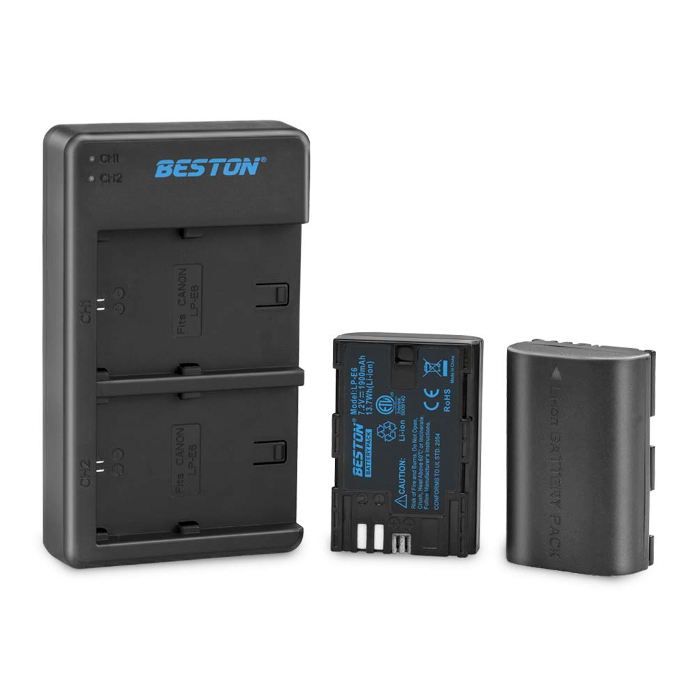 LP-E6 LP-E6N Battery BESTON 2 Pack Battery and Dual USB Charger Kit for Canon 5D Mark II III IV, 5Ds, 5Ds R, 6D, 7D, 60D, 70D, 80D Digital Cameras – ETL Certified