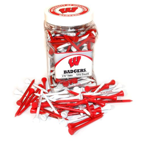 NCAA Wisconsin Badgers Jar Of 175 Golf Tees (Badgers Pack Tee Wisconsin)