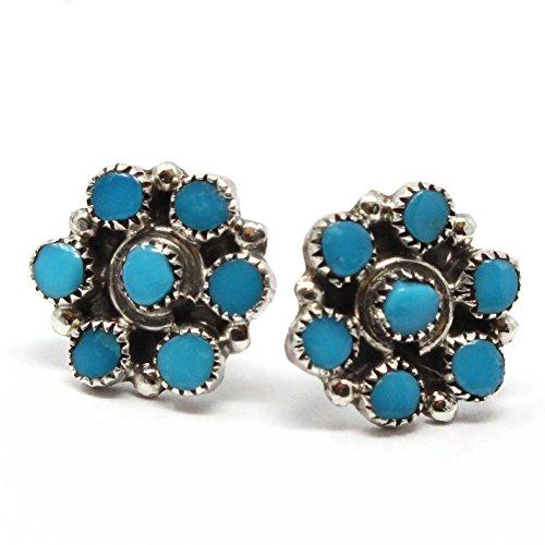 Zuni Turquoise Cluster Earrings Handcrafted by Zuni Artist Leekity | 3/8